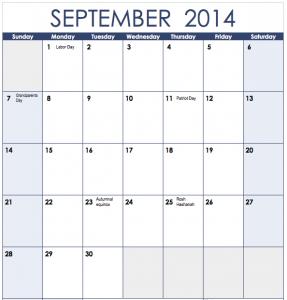2014 Vertical Monthly Calendar Template