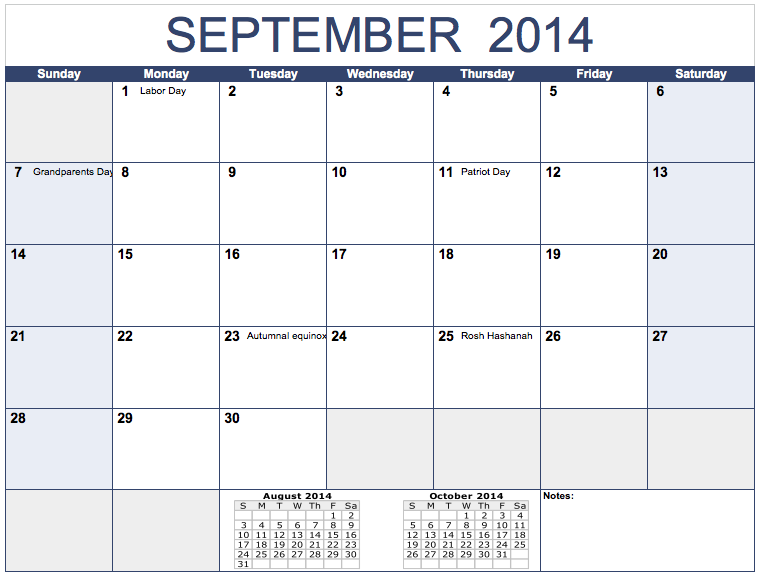 Horizontal 2014 Monthly Calendar Template for Numbers